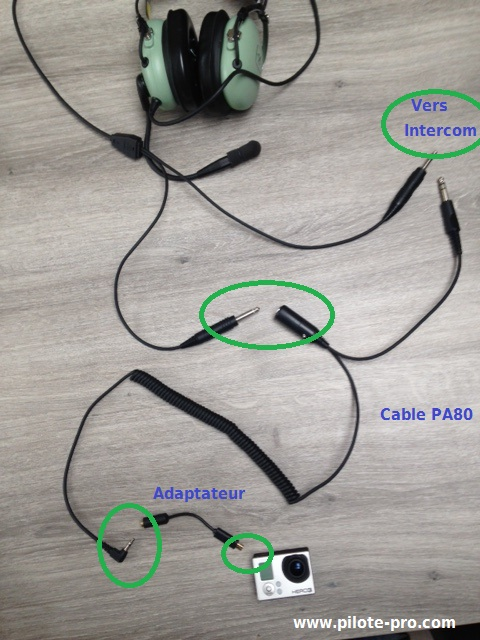 Branchement Gopro cable PA80
